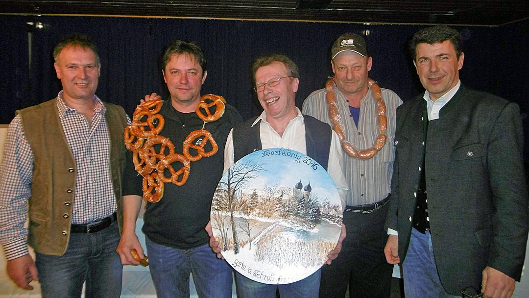 von links nach rechts: 1.Schützenmeister Michael Huber, Gerhard Huber, Fritz Schroll, Peter Stinn sen., Bürgermeister Bernd Ruth